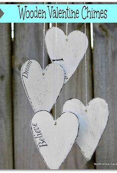wooden heart chimes, crafts, outdoor living