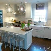 tips on creating a vintage modern kitchen, home decor, kitchen backsplash, kitchen design, White cabinets and marble counters never go out of style See entire kitchen here