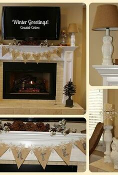 winter banner, seasonal holiday d cor, Simple winter decorations for the home office mantel