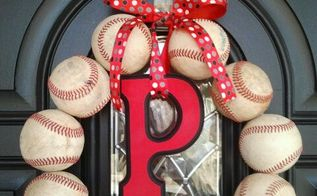play ball repurposed baseballs wreath, crafts, wreaths, String on a coat hanger and add embellishments