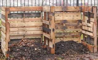 how to build a composting system from pallets, composting, diy, gardening, go green, how to, pallet, repurposing upcycling, A two bin system allows for piling kitchen and yard waste on one side to decompose and storing the finished compost on the other side