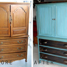 old entertainment center transformed, painted furniture