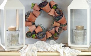 flower pot wreath, crafts, diy, flowers, gardening, how to, succulents, wreaths, This sweet flower pot wreath is nestled in a little nook in my kitchen that doesn t get much natural light so faux succulents are perfect here