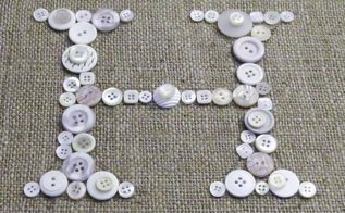 buttons and burlap initial art, crafts