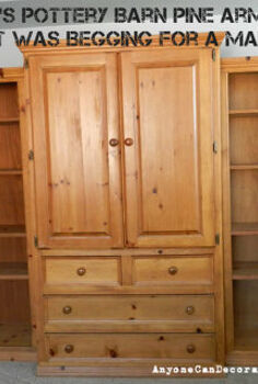 pottery barn pine wall unit from the 1990 s makeover before amp after pics, painted furniture