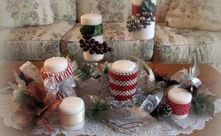 holiday candle decor, seasonal holiday decor