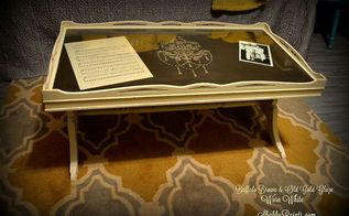 reloving a table with damaged veneer and adding a raised stencil, painted furniture