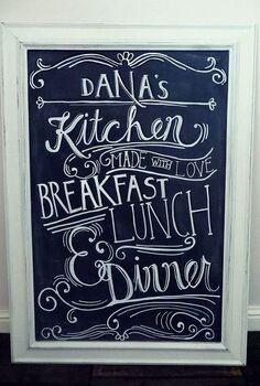 diy framed chalkboard, chalkboard paint, crafts, home decor, After