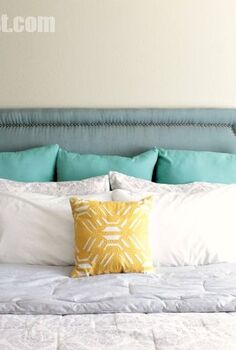 diy headboard with nailhead trim, bedroom ideas, diy