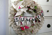 summer book page wreath, crafts, home decor, repurposing upcycling, wreaths