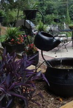 vintage iron cauldron and kettle fountain, flowers, outdoor living, patio, ponds water features, A different way to use our treasures make a fountain