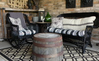 diy spray paint wicker furniture using half wine barrels as tables, painted furniture, repurposing upcycling