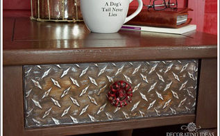 diy industrial style furniture, painted furniture, I found some diamond plate sheets at the craft store and I knew I had to figure out how to do a project with these