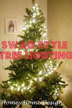 a new way to hang your christmas tree lights, christmas decorations, lighting, seasonal holiday decor, Swag style lighting