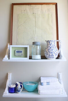 vintage inspired diy shelves, bathroom ideas, shelving ideas, After attaching the shelves to the wall using drywall anchors I was able to amp up the vintage charm by layering in pieces from my collection not all of them old
