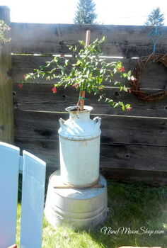 outdoor seating area my summer style, flowers, outdoor living, repurposing upcycling, I planted honeysuckle in my old milk jug and for height placed it on top of an old galvanized wash tub Hummingbirds love it