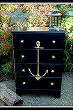 vintage anchor nautical coastal dresser makeover, painted furniture
