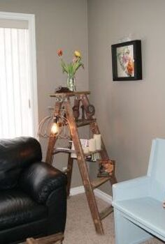 junky ladder lamp, lighting, repurposing upcycling