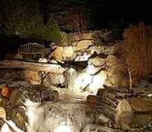 magical winter waterfalls with trd designs ltd, outdoor living, ponds water features, Rainwater Harvesting System RWH starting to ice over