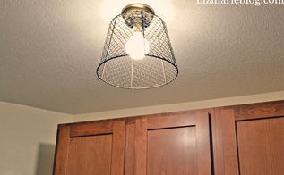 diy wire basket light fixture, electrical, lighting, repurposing upcycling