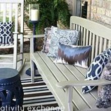 front porch revamp how to spray paint outdoor furniture, curb appeal, outdoor furniture, outdoor living, painted furniture, porches, Pretty outdoor pillows and neutral painted furniture helped to update and freshen up my porch