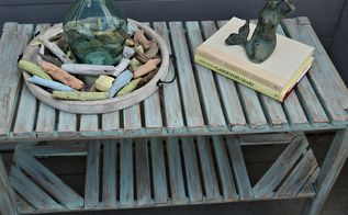 mermaid inspired upcycle, outdoor furniture, outdoor living, painted furniture, rustic furniture