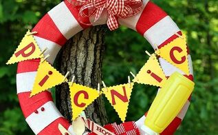 make a picnic wreath with party supplies, crafts, outdoor living, wreaths