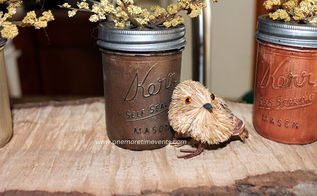 painted fall mason jars, crafts, mason jars, painting, Wondland birds added to complete this Fall vignette
