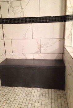 custom concrete shower bench, bathroom ideas, painted furniture