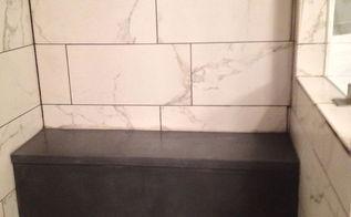 custom concrete shower bench, bathroom ideas, painted furniture