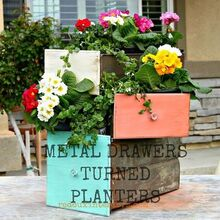 repurpose old drawers into planters, flowers, gardening, repurposing upcycling, Old Metal drawers were painted in CeCe Caldwells colors and repurposed as planters