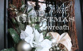 winter white christmas wreaths diy, christmas decorations, crafts, seasonal holiday decor, wreaths