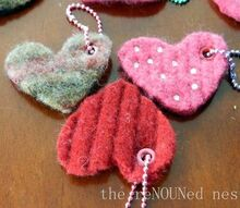felted wool heart backpack dangles and keychains, crafts
