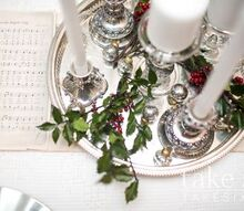 christmas winter tablescape, christmas decorations, seasonal holiday decor, Thrift store silver tray and tea dyed Christmas carols for table runner
