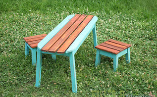 kids surfboard table and stools, painted furniture, woodworking projects, kids surfboard table and stools