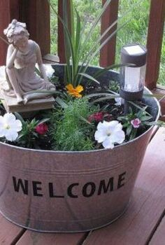 metal galvanized tub turned mini flower garden, flowers, gardening, repurposing upcycling