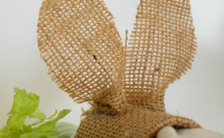 burlap bunnies napkin rings pier 1 knock off, crafts, seasonal holiday decor, wrap and glue ears slip in a napkin full tutorial on blog
