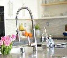 our budget kitchen makeover, home decor, kitchen backsplash, kitchen design, New faucet