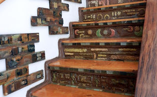 staircase project develops mind of it s own, concrete masonry, home decor, stairs, Staircase I hand formed all tiles from portland cement and carved with a dremel tool Risers combined with portland cement and nutmeg colored grout