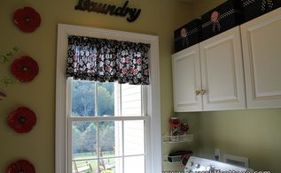 my laundry room got happy, home decor, laundry rooms, shelving ideas, I made my valance from a black red and white twill fabric which was 5 40 per yard It took 1 and 1 2 yards It s on a tension rod