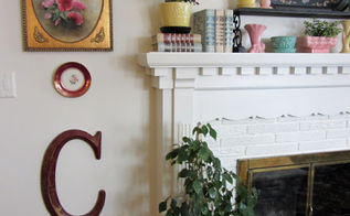 an organized clutter home tour, home decor, Living room mantel with vintage flower pots and vases