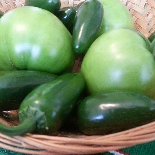 Beefsteak tomatoes and jalapeno peppers