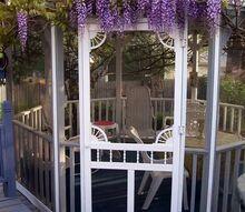 spring blooms, gardening, Spring blooming wisteria crowning the gazebo