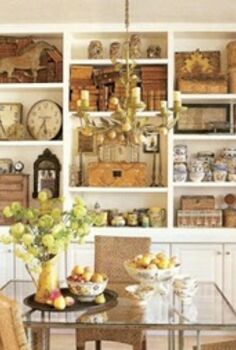 8 tips for giving your bookcase a decorative look, home decor, painted furniture, shelving ideas, A wonderful way to display collections This works well here because all of the items are unified by color so as not to appear jarring to the eye via Pinterest