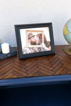 repurposed t v stand pet bed with wooden chevron patterned top, painted furniture, repurposing upcycling, woodworking projects