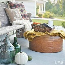fall porch, curb appeal, outdoor living, seasonal holiday decor, The bench is an 11 foot church pew from the 1800 s