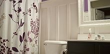 bathroom, bathroom ideas, electrical, home decor, Purple with Board Batten bathroom