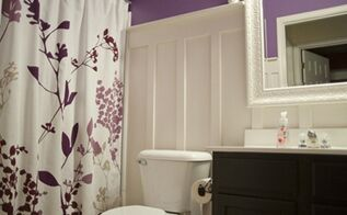 bathroom, bathroom ideas, electrical, home decor, Purple with Board Batten bathroom