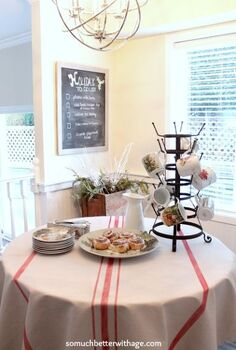 diy grain sack tablecloth, crafts, Looks so lovely with a buffet style breakfast