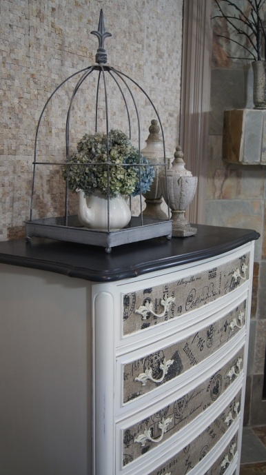 dresser with fabric inlay chalk paint painted furniture